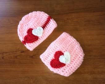 Crochet Pink Beanie and Diaper Cover With Hearts/ Valentines Day Photography Prop