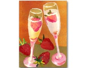 CHAMPAGNE & STRAWBERRIES - Celebration - Wedding, Engagement, Anniversary Card or Print with a Custom Cut Mat  (CMEM2013071)