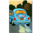 V W Bug - 1970's Flower Power Stickers - Volkswagon Beetle - Card or Print with a Custom-cut Mat - Traveling the Road of Life (CMEM2013008)