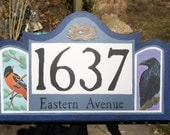 Wildlife Address Number Sign, Home Wall Decor, outdoor Wall Art,Baltimore oriole raven, birds sign
