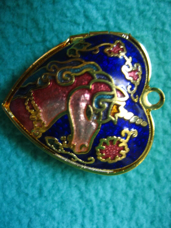 Vintage Unicorn Heart Shaped Cloisonn 233 Pendant Locket Dual