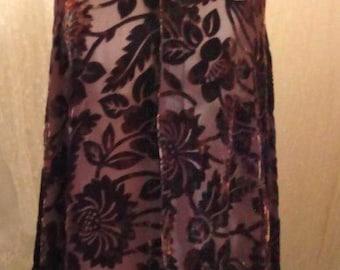 Handmade unique brown burnt velvet cape/shawl