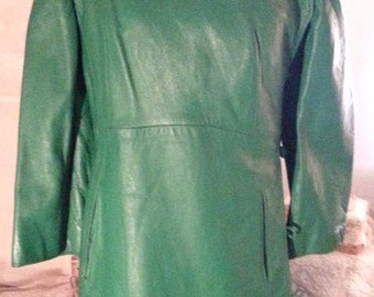 Vintage 1960's Green Leather Coat