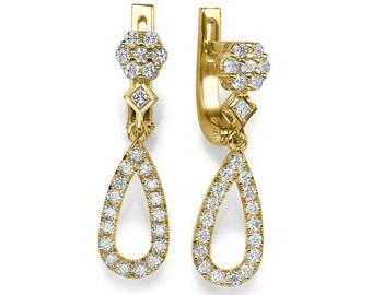 Gold Dangle Earrings, Diamond Earrings, Drop Earrings, 14K Gold Earrings, 0.66 CT Earrings Dangle, Drop Earrings Wedding