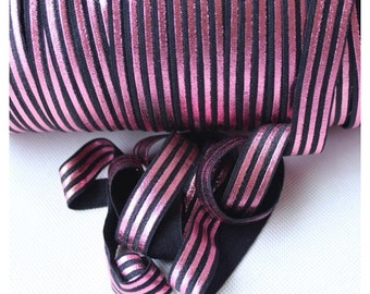 "Black with Pink Metallic Stripe 5/8"" Fold Over Elastic 1, 3 or 5 yards"
