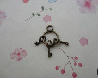 30pcs Antique Brass Metal Charms-Key pendant 25x12mm--CP408