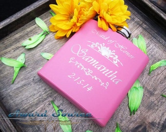 1, Personalized Maid of Honor Gifts, Pink Flask, Wedding Gift for Bridesmaids, 6oz Hip Flask