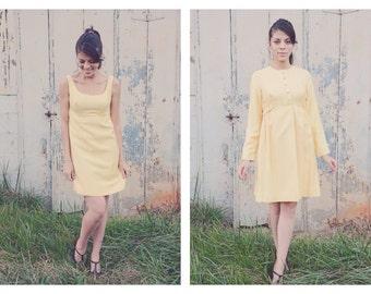 1960s Dress with Jacket + Jackie O Style Set + Vintage Yellow Empire Waist Dress