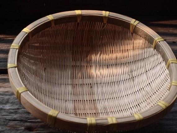 Vintage Green Bamboo Colander Woven Bamboo Tray Bamboo