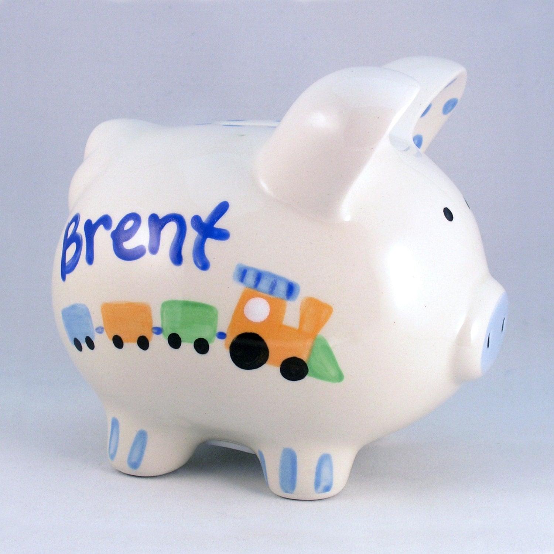 Baby Gift Piggy Bank : Hand painted piggy bank custom baby gift shower