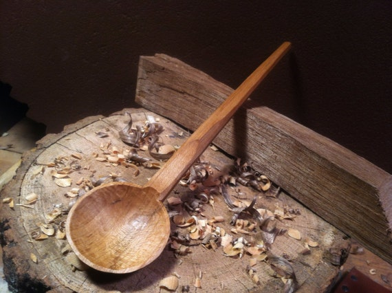 Cawl spoon hand carved from seasoned maple
