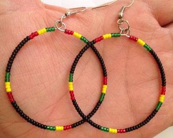 Rastafarian Beaded Hoops
