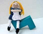Alice in Wonderland Doll, Fairy Tale & Fantasy Finger Puppet, hand-knit