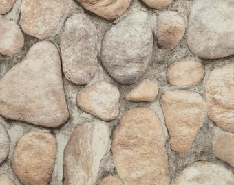 Realistic River Rock Masonry Wall - Gray, Stone, Faux Texture, Stonewall, Realistic, Mural, Natural - Wallpaper By The Yard - RN1064 fl