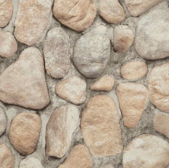 Realistic river rock masonry wall gray stone faux texture for River rock wall