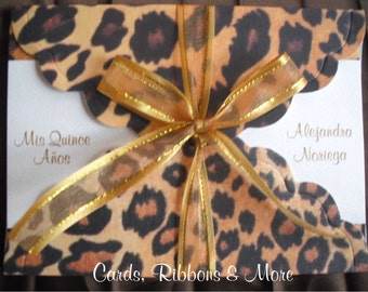 Sweet 16 invitation, quinceanera invitation, sweet 16 invitations, leopard party, animal print invitation, Cheetah & Gold, zebra, birthday