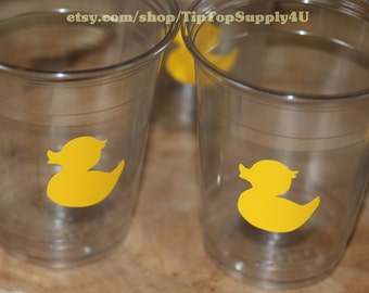 24 rubber duck, rubber ducky 10oz. 12oz. or 16oz. clear party cups. 1 duck per cup .Disposable cups. Baby Shower, Baby Birthday. Vinyl B-116