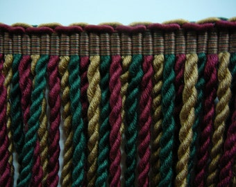 "8.75"" cotton bullion fringe in hunt colors of camel, burgundy and forest green"