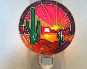 Desert Cactus Sunset night Light with  4 watt  on/off switch