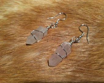 Rose Quartz crystal Wire wrapped Earrings Sterling Silver