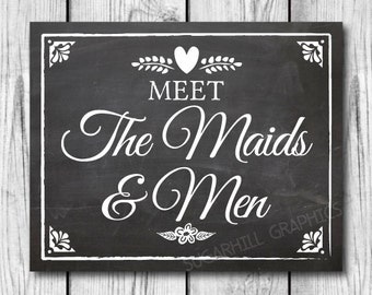 Chalkboard Wedding Sign, Printable Wedding Sign, Wedding Meet the Maids & Men Sign, Wedding Decor, Instant Download, Wedding Signage