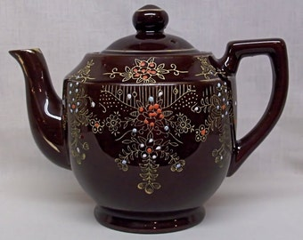 Vintage Hand-Painted Moriage Pattern Teapot - Redware Pottery - Japan