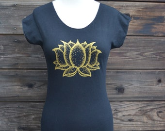 Glow in the Dark and Gold Lotus Flower Women's Fitted Yoga T-Shirt - Sacred Geometry - Yoga Wear