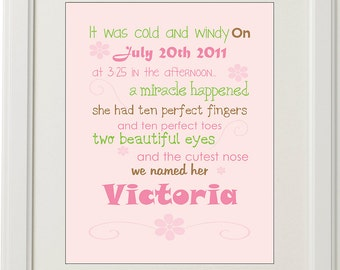 Personalised baby girl birth print