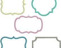 SET OF 5 FRAMES Applique Design - Instant Download Digital File - Machine Embroidery