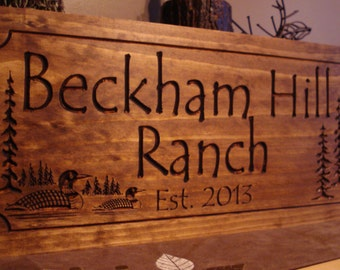 Custom Wood Carved Sign, Cabin Sign, Lake house Sign, Wooden sign, Custom Signs, Last name Sign with Loon ducks pine trees Benchmark Signs