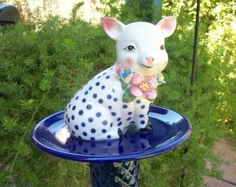 Polka Dot Pig Garden Stake