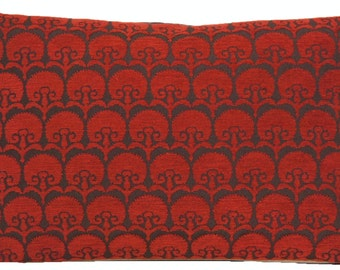 Carnation Pillow Throw Case Deep Red Cushion Cover Woven Fabric Osborne & Little Cotton Textile