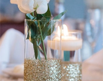 "10 Glitter Glass Cylinder Vase for Weddings or Special Event  7 3/4"" x 3.5""  or 9"" x 3.5"""
