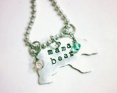 SaLe Mama Bear Necklace with FREE initialed cub or  birthstone  add on option