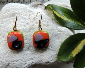 fused glass earrings,orange green pendant earrings, dangle earrings,glass earrings,jewelry,gift for her, jewelry set,necklace and earrings