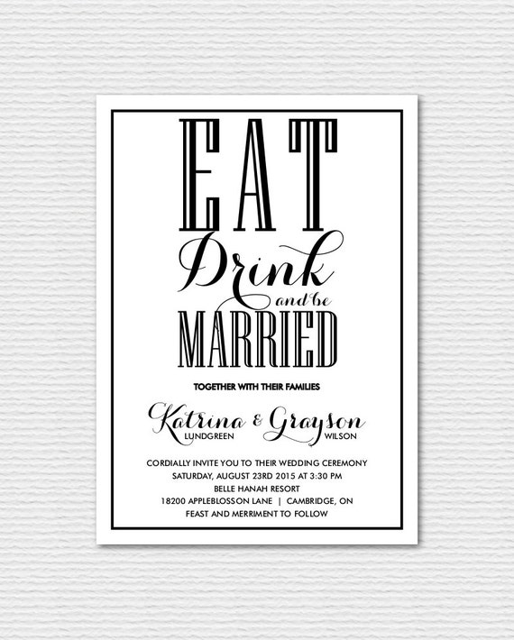 Eat Drink And Be Married Wedding Invitation Set   Invitation And RSVP  Postcard   Vintage Wedding Invitation   Printable Invitation Set