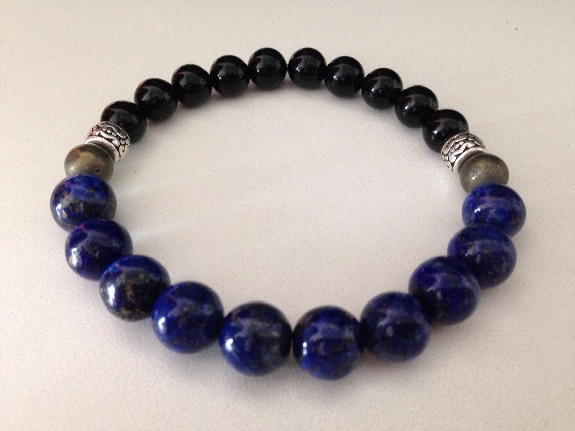 men 39 s bracelet b214 lapis lazuli black onyx and pyrite. Black Bedroom Furniture Sets. Home Design Ideas