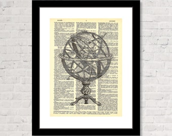 Armillary Sphere - Vintage Etching - Dictionary Page Art