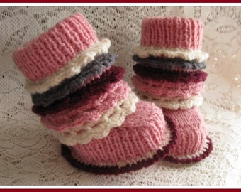 """Crochet Knitting Baby Booties Baby Shoes 6 -9 months approx 11cm 4,5"""""""