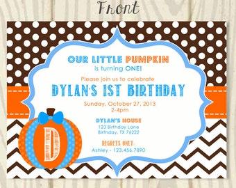 Our Little Pumpkin Birthday Invite -Boy - 5x7