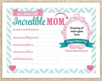 All About My Mom Mother's Day Printable Gift - Instant Download