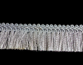 Silver Fringes Trim with Border