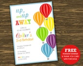 Hot Air Balloon Birthday Invitation - Rainbow  - Printable - FREE pennant banner and thank you card with purchase