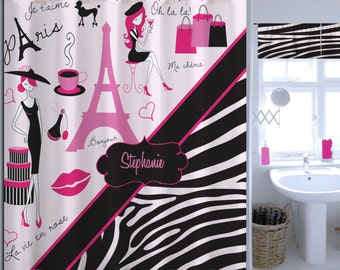 Paris Bathroom Decor, Paris Eiffel Tower Shower Curtain, Zebra Print Shower  Curtain, Monogrammed