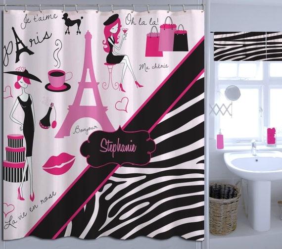 Paris bathroom decor paris eiffel tower shower curtain zebra for Zebra bathroom decor