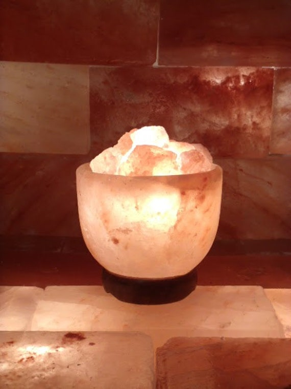 Himalayan Salt Lamps Authentic : Items similar to Authentic Himalayan salt crystal lamp filled w/ salt chunks / Prosperity Bowl ...