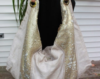 D R YANNY ,Italy TINY Paillette Linen shoulder /Hobo bag,Gorgeous ,almost new!