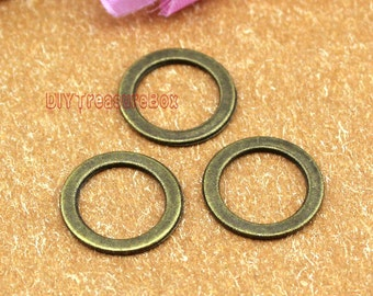 50pcs Antique Bronze Tone Round Circle charm pendants Double Sided  15mm