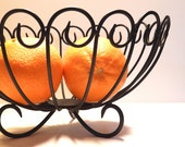 Vintage Black Metal Fruit Bowl Home Decor - bauble2bijou