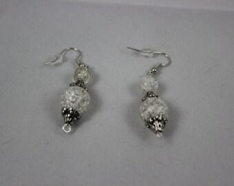 Clear Acrylic Beaded Earrings